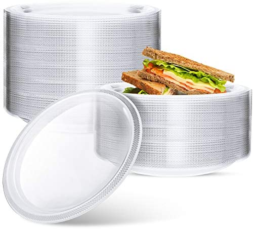 100 Pcs Clear Disposable Plastic Plates, 7 Inch Desserts Plastic Plates Disposable for Parties and Wedding