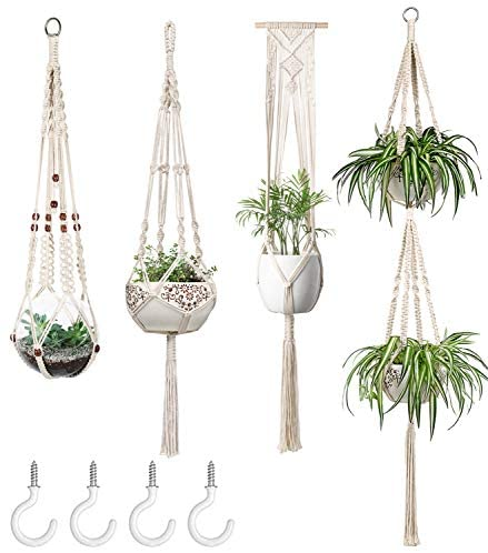 Mkono Macrame Plant Hangers Set of 4 Indoor Wall Hanging Planter Basket Decorative Flower Pot Holder with 4 Hooks for Indoor Outdoor Home Decor Gift Box, 4 Different Size