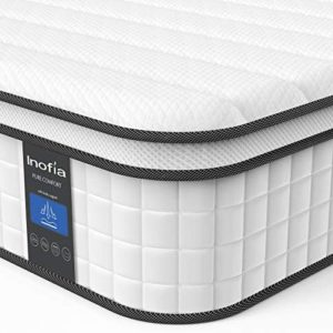 Queen Mattress, Inofia 10 Inch Responsive Memory Foam Mattress, Hybrid Innerspring Mattress in a Box, Sleep Cooler with More Pressure Relief & Support, CertiPUR-US Certified, Double Size