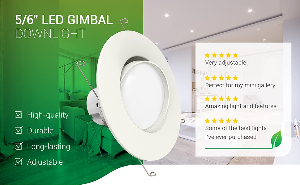 5/6 Inch Gimbal LED Downlight, Dimmable, Adjustable Recessed Ceiling Fixture, Retrofit Installation