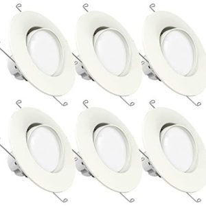 Sunco Lighting 6 Pack 5 Inch/6 Inch Gimbal LED Downlight, 12W=60W, 3000K Warm White, 800 LM, Dimmable, Adjustable Recessed Ceiling Fixture, Simple Retrofit Installation