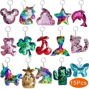 Outee Sequin Keychain 15 Pcs Flip Sequin Keychain for Mermaid Tail Clover Cat Animals Shape Party Supplies Favors for Kids Adults Party Events Gift 15 Different Designs