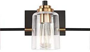 SOLFART 3 Head Vintage Bath Vanity Light Wall Decor Bathroom Over Mirror Modern Glass Shade Light Fixtures (3 Lights-Exclude Bulb)