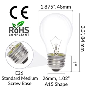 a15 e26 standard medium screw base light bulb dimensions length width diameter ce rohs