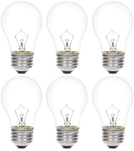 Simba Lighting Appliance Light Bulb A15 40W (6 Pack) Incandescent Mini-Standard Shape with E26 Standard Medium Screw Base for Refrigerators, Ovens, 110V 120V 130V, Dimmable, 2700K Warm White