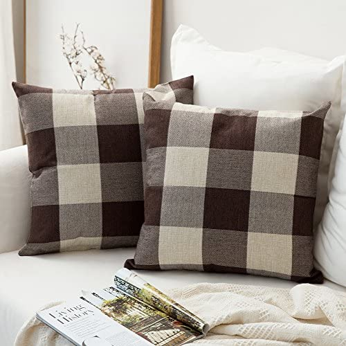 MIULEE Pack of 2 Classic Retro Checkers Plaids Cotton Linen Soft Solid Brown and White Decorative Throw Pillow Covers Home Decor Design Cushion Case for Sofa Bedroom Car 16 x 16 Inch 40 x 40 cm