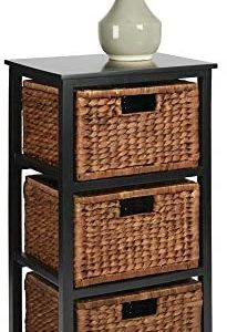 mDesign Side End Table Storage Nightstand - Sturdy Wood Frame, Water Hyacinth Woven Pull Out Basket Bins - Furniture Unit for Living Room, Bedroom, Hallway, Entryway, 3 Drawer - Black/Espresso Brown