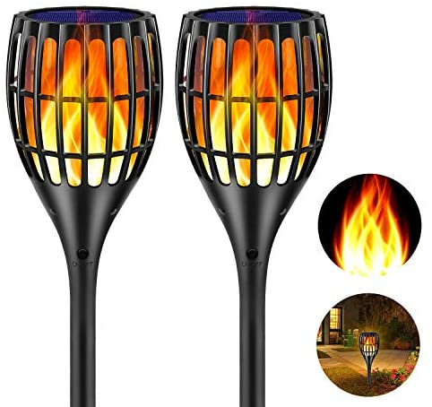 "Ollivage Solar Torch Flame Lights Waterproof Flickering Flames Solar Lights 43"" Solar Garden Lights Outdoor Landscape Decoration Lighting Dusk to Dawn Auto On/Off for Yard Garden Pathway, 2 Pack"