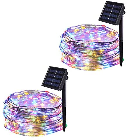 JMEXSUSS 2 Pack Solar String Lights 8 Modes 100 LED 32.8ft Solar Powered Waterproof Fairy String Copper Wire Lights for Christmas, Bedroom, Patio, Wedding, Party,Outdoor Decorative (Multi-Color)