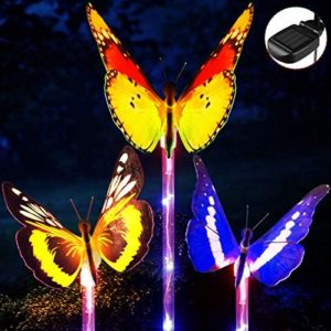 YUNLIGHTS Outdoor Solar Garden Lights, 3 Pack Waterproof Solar Stake Light, Fiber Optic Butterfly with Multi-Color Changing LED Light Stake for Garden, Lawn, Path, Backyard Decoration