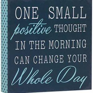 "Barnyard Designs One Small Positive Thought in The Morning Can Change Your Whole Day Box Wall Art Sign, Primitive Country Farmhouse Home Decor Sign with Sayings 8"" x 8"""