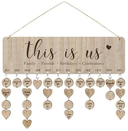 ElekFX This is Us Family Friends Birthday Calendar Wood Wall Hanging Calendar Plaque DIY Birthday Reminder Wall Calendar Board for Home Decor(This is Us Wooden)
