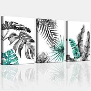Canvas Wall Art for Living Room Bathroom Black and White Blue Green BohoTropical Leaves Canvas Prints Bedroom Wall Decor Minimalist Framed Wall Pictures Monstera Watercolor Home Office Wall Décor