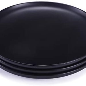 BonNoces 10-inch Matte Porcelain Dinner Plate, Elegant Large Round Serving Plates for Steak, Pasta, and Salad, Set of 3 (Matte Black)