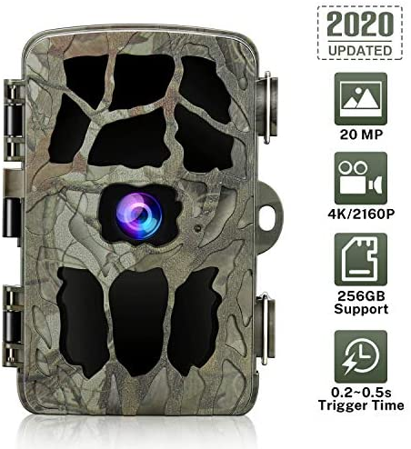 GRM Trail Camera 20MP 4K Hunting Camera Waterproof Trail Vision Camera with Night Motion, 0.2s Trigger Time Support 256G TF Card for Outdoor Wildlife Monitoring