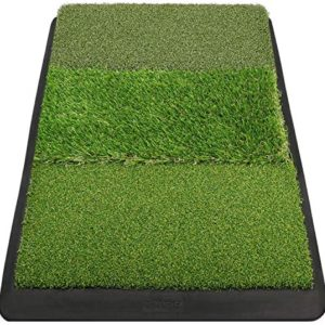 "Champkey 17"" 27"" Premium Tri-Turf Golf Hitting Mat - Heavy Duty Rubber Base Practice Mat Portable Driving, Chipping, Training Aids Ideal for Indoor & Outdoor"