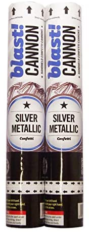 2 Pack Silver Confetti Cannons for Indoor/Outdoor Celebration, New Years, Birthday, Surprise Party, Baby Shower, Graduation, Wedding, Festival, Anniversary, Event and Party Supplies
