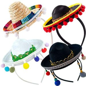 4 PCs Cinco De Mayo Sombrero Headband Hat - Mini Mexican Sombrero Party Hats Decorations for Fiesta Carnival Festivals Birthday Coco Theme and Party Supplies - Sombrero Party Hats White/Black
