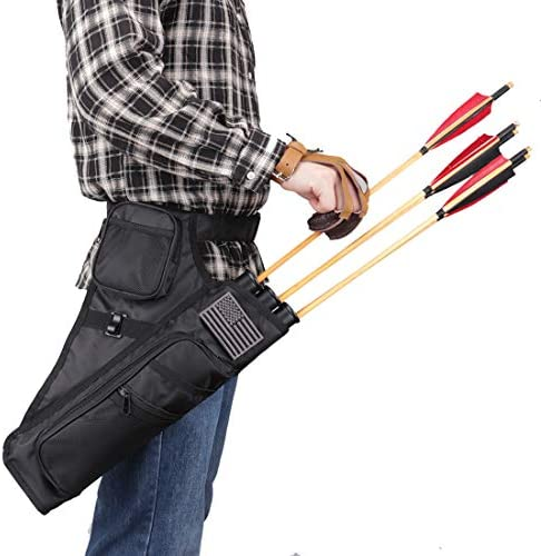 Archery 3 Tubes Hip Arrow Quiver with Adjustable Waist Belt /& Pockets Red