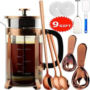 ADAMITA French Press Coffee Maker 8 cups 34 oz 304 Stainless Steel Coffee Press with 4 Filter Screens, Easy Clean Heat Resistant Borosilicate Glass - Free 100% BPA (A-Style-Copper-3A, 34 oz)