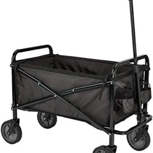 AmazonBasics Garden Tool Collection - Collapsible Folding Outdoor Garden Utility Wagon with Cover Bag, Black