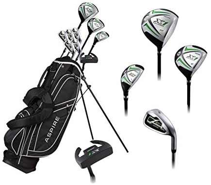 """Aspire X1 Men's Complete Golf Set Includes Titanium Driver, S.S. Fairway, S.S. Hybrid, S.S. 6-PW Irons, Putter, Stand Bag, 3 H/C's Right Hand Tall Size for Men 6'1"""" and Above!"""