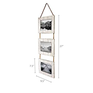 Dimensions photo of White Triple Photo Frame