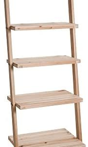 Book Shelf for Living Room, Bathroom, and Kitchen Shelving, Home Décor by Lavish Home- 5-Tier Decorative Leaning Ladder Shelf- Wood Display Shelving