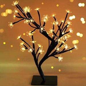 "Bright Zeal 18"" Battery Operated LED Cherry Blossom Tree Lights (6hr Timer) - Bonsai Lighted Tree - Lighted Cherry Blossom Tree Light Tabletop LED Tree Lamp - Home Decor Artificial Plants Light BZY"