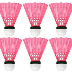 CLISPEED Badminton Shuttlecocks Nylon High Speed Badminton Balls for Indoor Outdoor Sports (Pink, Pack of 6)
