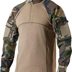 CQR Men's Combat Shirt Tactical 1/4 Zip Assault Long Sleeve Military BDU Shirts Camo EDC Top