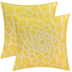 CaliTime Pack of 2 Soft Canvas Throw Pillow Covers Cases for Couch Sofa Home Decor Dahlia Floral Outline Both Sides Print 18 X 18 Inches Maize Yellow