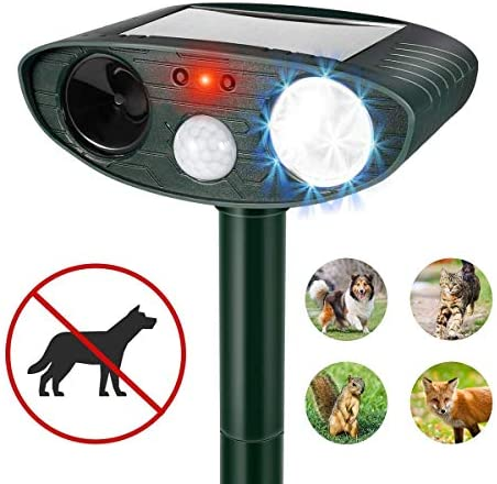 Clever sprouts Dog Cat Repellent, Ultrasonic Animal Repellent with Motion Sensor and Flashing Lights Outdoor Solar Powered Waterproof Farm Garden Yard Repellent, Cats, Dogs, Foxes, Birds, Skunks, Rod