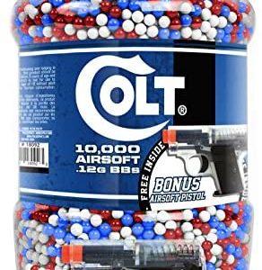 Colt 6mm 10,000 Round Jar of BB's with Bonus 25 Spring Airsoft Pistol Inside