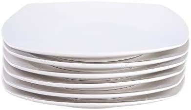 Cutiset 10.5 Inch Porcelain Square Salad/Desert Dinner Plates, Set of 6, White (10.5 Inch, Square)