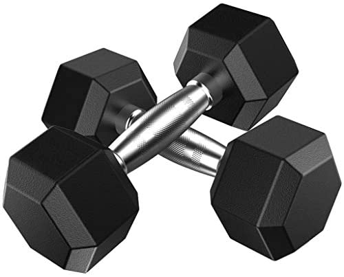 Dasuy One Pair of Rubber Encased Hex Dumbbell with Metal Handles, 5lbs, 10lbs, 20lbs, 30lbs, 50lbs Dumbbell Barbell Weights Set - Shipped from US