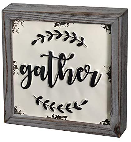 """DeliDecor Gather - 8"""" X 8"""" Wooden Signs Wall Decor Rustic Embossed Retro Metal and Wood Framed Sign Modern Farmhouse Wall Hanging Art Gather Sign Home Decor"""