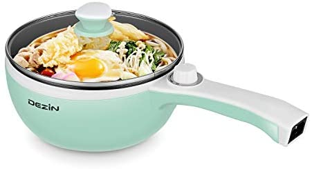 Dezin Electric Hot Pot Upgraded, Non-Stick Sauté Pan, Rapid Noodles Cooker, 1.5L Mini Pot for Steak, Egg, Fried Rice, Ramen, Oatmeal, Soup with Temperature Control, Seafoam Green (Egg Rack Included)