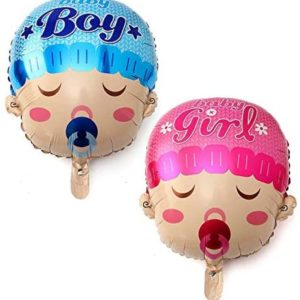 EZParty 4pc Baby Boy and Girl Large Foil Helium Balloons | Gender Reveal Twins Party Event Decoration Supplies