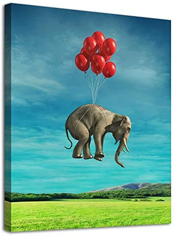 "Elephant Canvas Wall Art Modern Fantastic Animal Picture African Elephant with Balloon Canvas Artwork Contemporary Wall Art for Home Decor Bedroom Living Room Decoration Framed Ready to Hang 12"" x 16"""