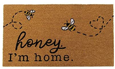 "Elrene Home Fashions Farmhouse Living Honey I'm Home Bee Coir Doormat, 18"" x 30"", Natural"