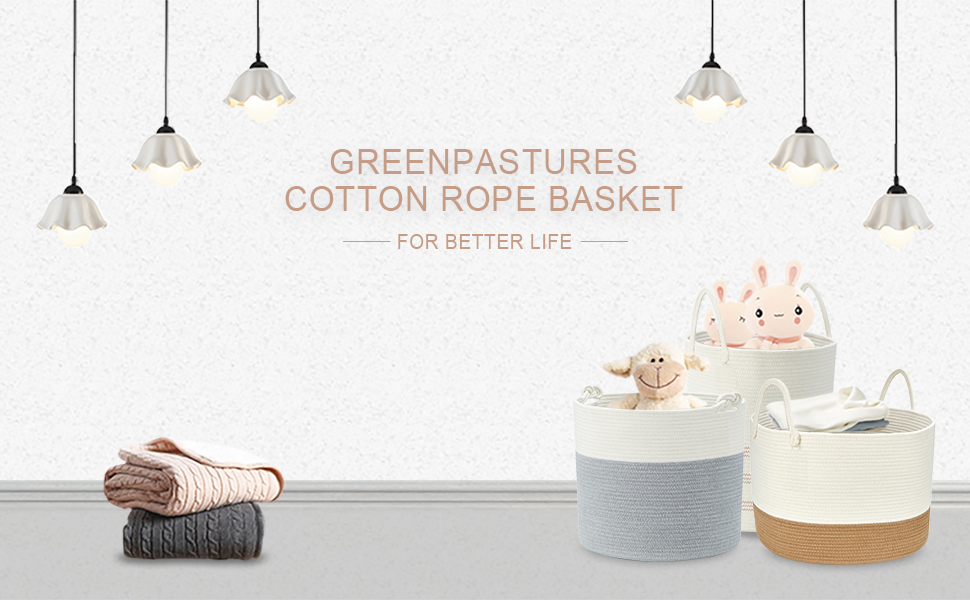 GreenPastures Cotton Rope Basket for living room nursery laundry room