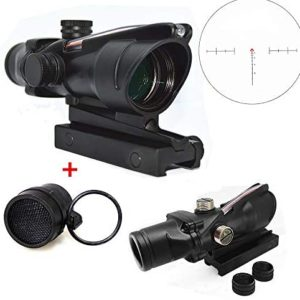 FIRECLUB 4x32 Scope Hunting RifleScopes Red or Green Chevron Glass Etched Reticle Real Fiber Optics Tactical Optical Sights Scope