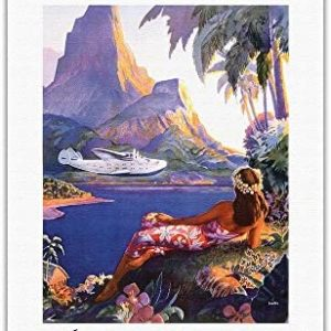 Fly to South Seas Isles via Pan American - Pan American Airlines (PAA) - Vintage World Travel Poster by Paul George Lawler c.1940s - Hawaiian Fine Art Print - 27in x 40in