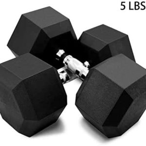 HYSGM Dumbbells 5-50 Pounds Hex Weights Barbell Rubber Workout Dumbbells with Metal Ergonomic Handles for Strength Training