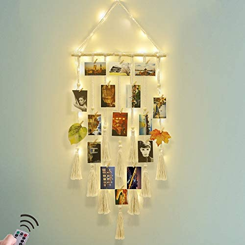 Hanging Photo Display Wall Decor - Macrame Wall Decor Hanging Remote Fairy Light Boho Home Decor with 30 Wood Clips for Photo Collage Frame