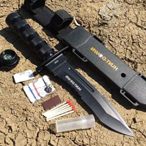 """Hunt-Down 12"""" All Black Survival Hunting Knife Ultra Sharp Fixed Blade Knife - Survival Kit & Compass Camping Survival Pocket Knives + Free eBook by Survival Steel"""