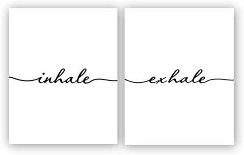 "Inhale Exhale Art Print Set of 2 (10""X8"", Meditation Art Print, Black and White Yoga Wall Art Prints,Modern Zen Print, Canvas Wall Art Poster for Bedroom Home Decor, No Frame"