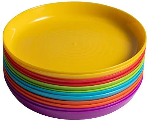 Klickpick Home Kids Plates - Set of 12 Children Plastic Plates Reusable - 6 Bright Colors (2 of Each Color) Dishwasher Microwave Safe BPA Free 7 Inch Plate Perfect for Kid and Toddler