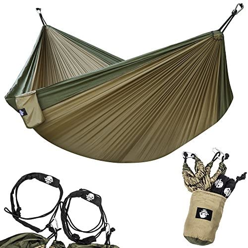 Legit Camping - Double Hammock - Lightweight Parachute Portable Hammocks for Hiking, Travel, Backpacking, Beach, Yard Gear Includes Nylon Straps & Steel Carabiners